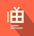 Flat Design Happy Birthday with Gift Box vector image