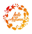 hello autumn season greeting card vector image