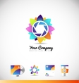 Photography aperture shutter logo vector image