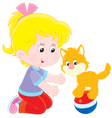 Girl and kitten vector image vector image