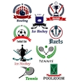 Sporting icons emblems and symbols vector image