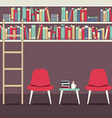 Empty Chairs Under Bookshelves vector image