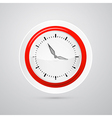 Abstract Red and White Clock Isolated on White vector image