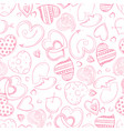 ballpoint pen drawing hearts seamless pattern vector image