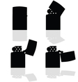 lighter in four positions open silhouette vector image