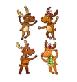 Funny Cute Reindeer Christmas Isolated vector image