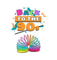 back to 90s poster template with rainbow colored vector image