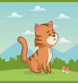 cute tiger animal baby with landscape vector image