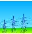 Electrical lines and pylons with blue sky vector image