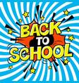 back to school poster comic retro yellow alphabet vector image
