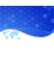 blue card with dotted world map vector image