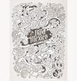 cartoon hand-drawn doodles latin american vector image