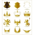 Collection heraldic gold elements vector image