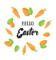 hello easter holiday greeting card with vector image