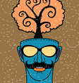Hipster hand drawn human head with tree vector image