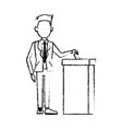 man in a suit putting paper in the ballot box vector image
