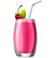Smoothie with fresh cherry in glass vector image
