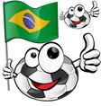 soccer ball cartoon with brazilian flag vector image