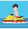 Caucasian man training on jet ski in the sea vector image