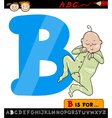 letter b with baby cartoon vector image vector image