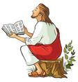 jesus reading the bible vector image vector image