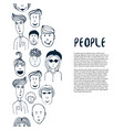 hand drawn sketch people collection design vector image