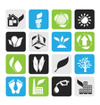 Silhouette environment and nature icons vector image vector image