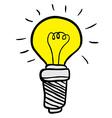 freehand drawn cartoon lightbulb vector image