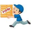 Cartoon a delivery man holding pizza vector image