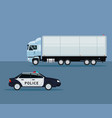 color background with truck and police car vehicle vector image