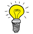 freehand drawn cartoon lightbulb vector image