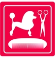 grooming icon with poodle dog scissors and comb vector image