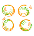waves with butterfly logo vector image