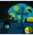 Blue and yellow halloween landscape vector image