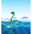 funny two dinosaur cartoon swimming in the sea vector image vector image