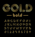 Golden font alphabet with gold effect letters and vector image