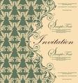 damask green invitation card vector image vector image