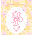 Welcome Baby Card with Rattle vector image vector image