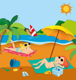Summer vacation with people on the beach vector image vector image