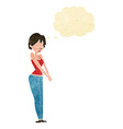 cartoon content woman with thought bubble vector image