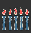 burning fire torch animation vector image