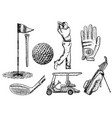 ink hand drawn golf icon set vector image