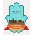 Jerusalem skyline inside hamsa hand rosh hashana vector image