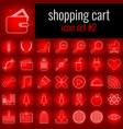 shopping cart icon set 2 white line icon on red vector image