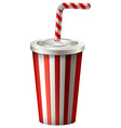 Soft drink in striped cup vector image