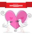 Wedding Card with Pink Heart and Paper Doves vector image