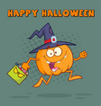 witch pumpkin cartoon character running vector image