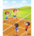 Children playing tennis at the court vector image vector image