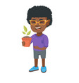 african smiling boy holding a potted plant vector image