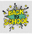 back to school poster comic retro yellow alphabet vector image